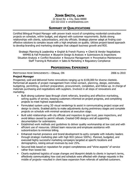 sle construction project manager resume exle 2017