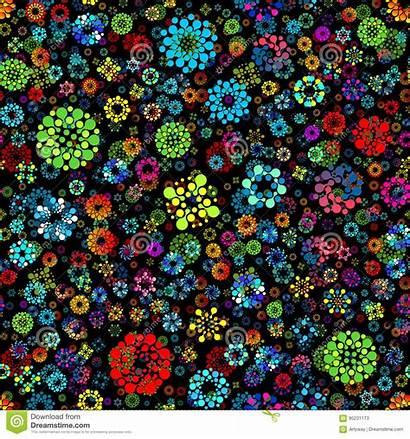Vector Flower Garden Futuristic Repeatable Circles Seamless