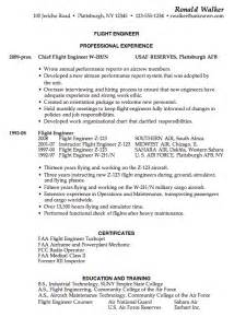 Excellent Resume Template Resume Sle For A Flight Engineer Susan Resumes