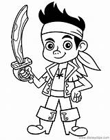 Jake Pirates Coloring Neverland Pages Sword Pdf Disneyclips Holding Funstuff sketch template