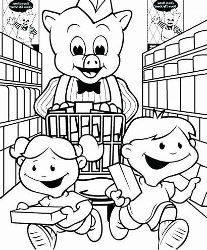 Coloring Grocery Supermarket Pages Shopping Getcolorings Printable