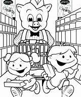 Coloring Grocery Supermarket Shopping Getcolorings Printable sketch template