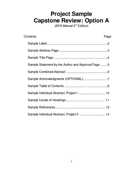 Apa Format Research Paper Table Of Contents