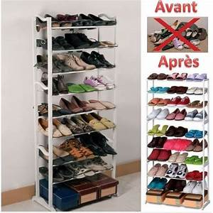 porte chaussures etagere a chaussures meuble de rangement With meuble chaussure grande capacite 13 etagere chaussures 30 paires