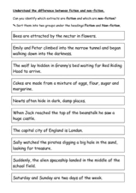 difference between fiction and nonfiction worksheet understand the difference between fiction and non fiction