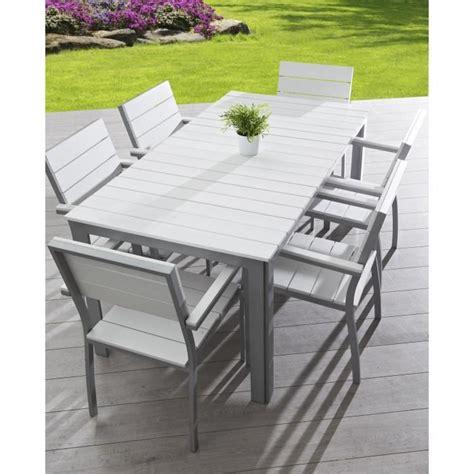 Salon de jardin 6 places aluminium composite blanc - Achat / Vente salon de jardin Salon de ...