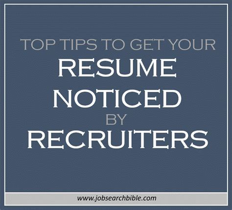 top tips to get your resume noticed by recruiters