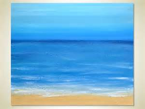 Blue Abstract Acrylic Painting Ocean Waves Beach Sand