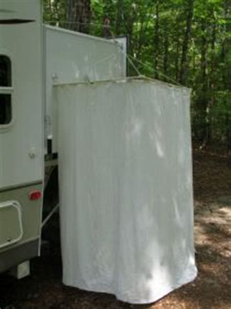 A Removable Exterior Shower Curtain Rod That Hangs On The