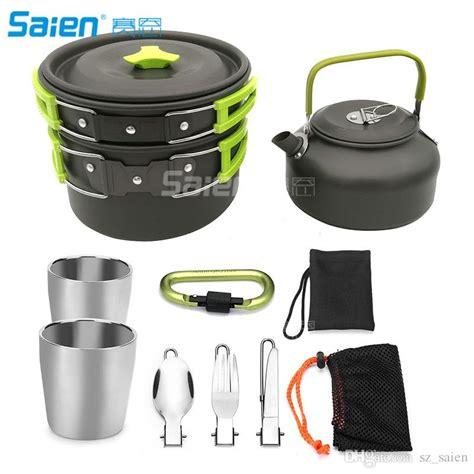 camping cookware kit camping pans portable cook set   teapot pot set carabiner camping