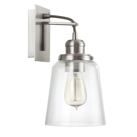 brushed nickel one light wall sconce with clear glass