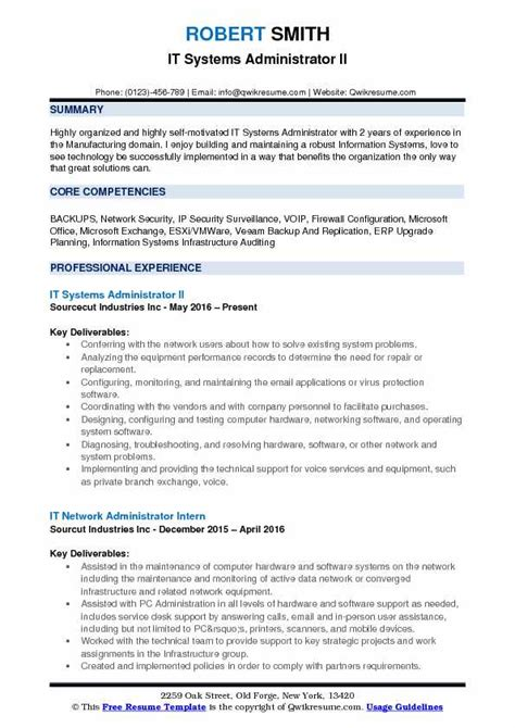 Systems Administrator Resume by It Systems Administrator Resume Sles Qwikresume