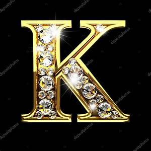 k isolated golden letters with diamonds on black — Stock ...
