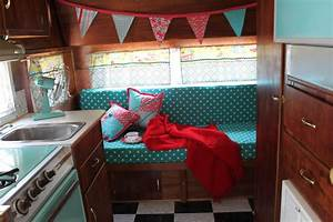 Vintage camper there39s no place like homemade for Truck camper interior ideas