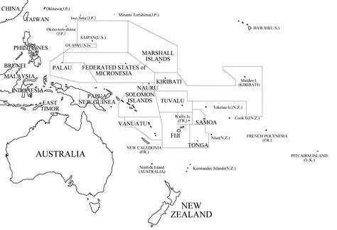 Mapa Politico De Oceania Para Colorear Con Nombres