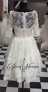 Robe Mariee Courte : robe de mariee courte en dentelle manches 3 4 bustier ~ Melissatoandfro.com Idées de Décoration