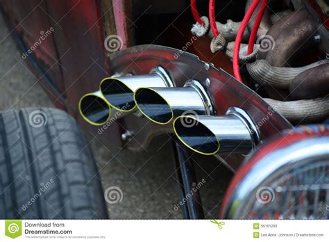 classic car hot rod exhaust pipes chrome