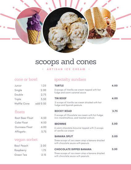 customize  ice cream menu templates  canva