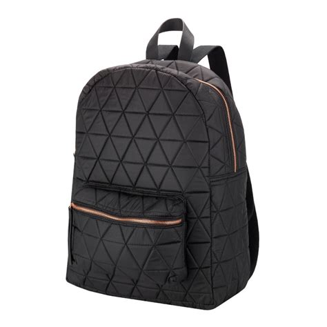 black canvas black quilted backpack