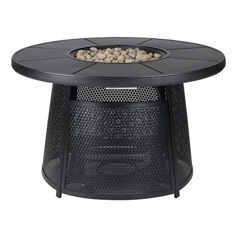 outdoor fire pit table black carbon patio backyard