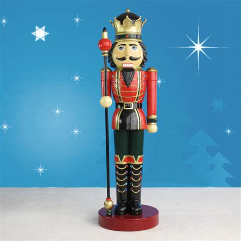 life sized nutcracker king with scepter on drum 9ft