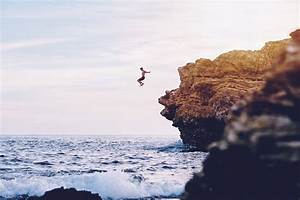 #men, #nature, #jumping, #cliff, #landscape, #sea ...