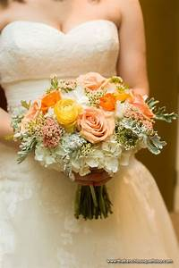 Bridal Bouquet of Yellow Ranunculus, Orange Spray Roses ...
