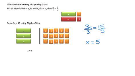 algebra tiles solving equations solving equation using multiplication and division systry
