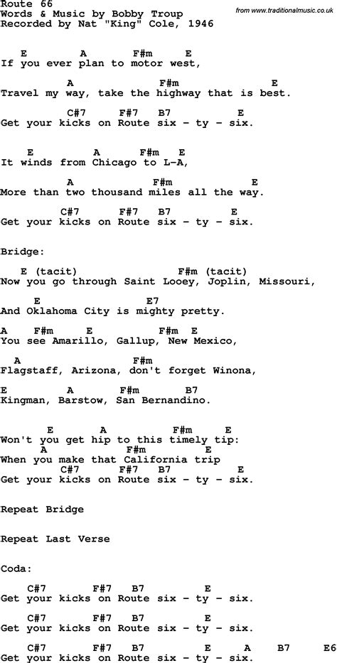 song lyrics with guitar chords for route 66 nat king cole 1946