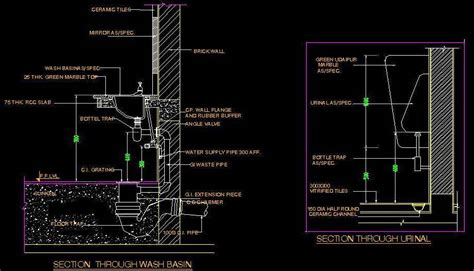 Small Kitchen Design Layout Ideas - typical section of wash basin and urinal plan n design