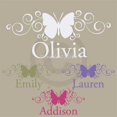 customer made scroll butterfly with personalized name monogram wall decor sticker vinyl