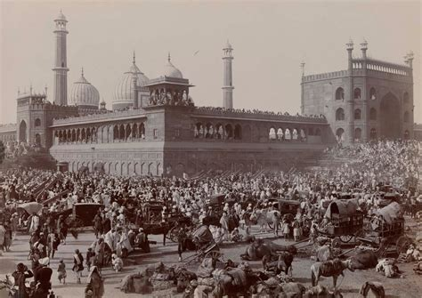 crowded streets  delhi india  front   jama