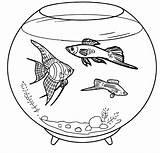 Coloring Aquarium Fish Pages Tank Pet Pets Empty Template Books Water Ocean Fresh Animals sketch template