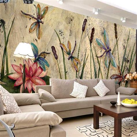 personalized dragonfly lotus mural wallpapers eurpoean