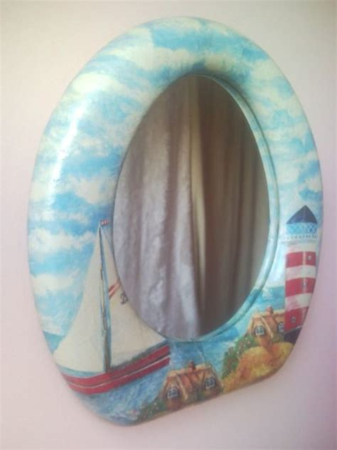 upcycled toilet seat wall mirror  lighthouse