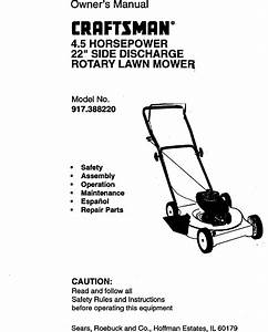 Craftsman 917388220 User Manual 4 5hp 22 Rotary Lawn Mower