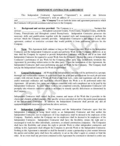 sample independent contractor agreement forms