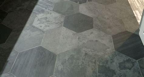 peel  stick hexagon floor tiles tile floor flooring tiled hallway