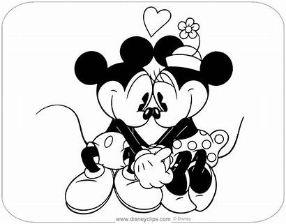 Mickey Minnie Coloring Pages Hands Classic Holding
