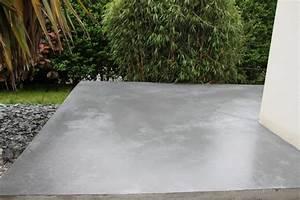 Photos terrasse beton cire le beton creatif en bretagne for Terrasse exterieur beton cire