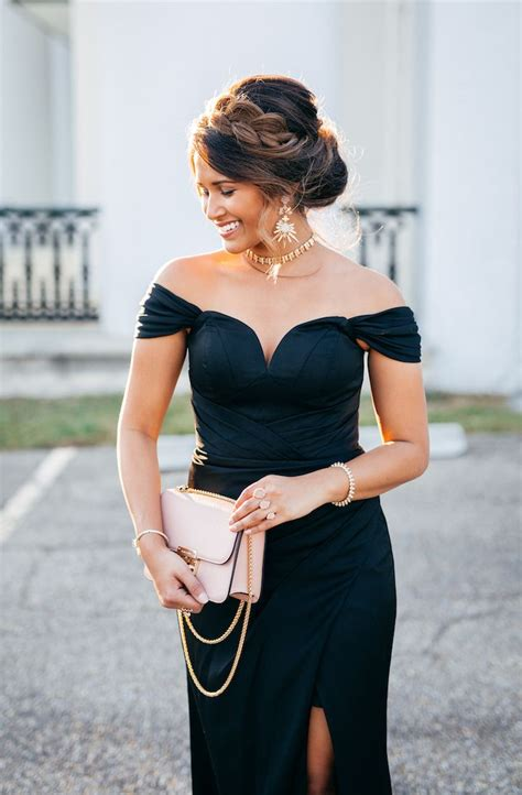 holiday party style glam   shoulder gown fab