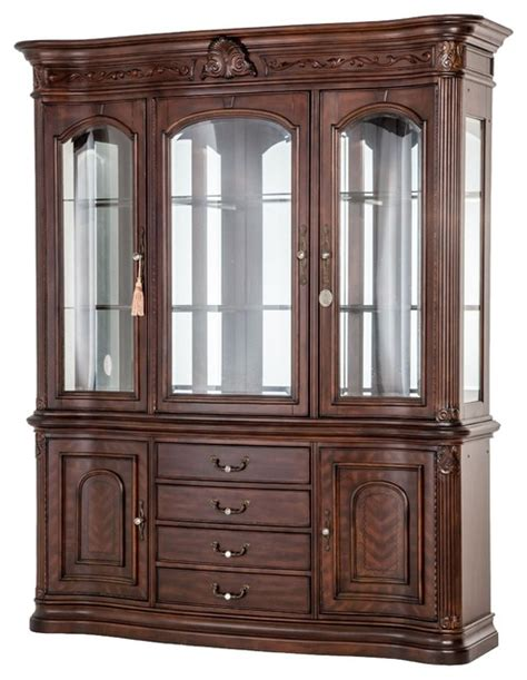 Curio Storage Cabinet by Aico Furniture Villagio China Cabinet In Hazelnut