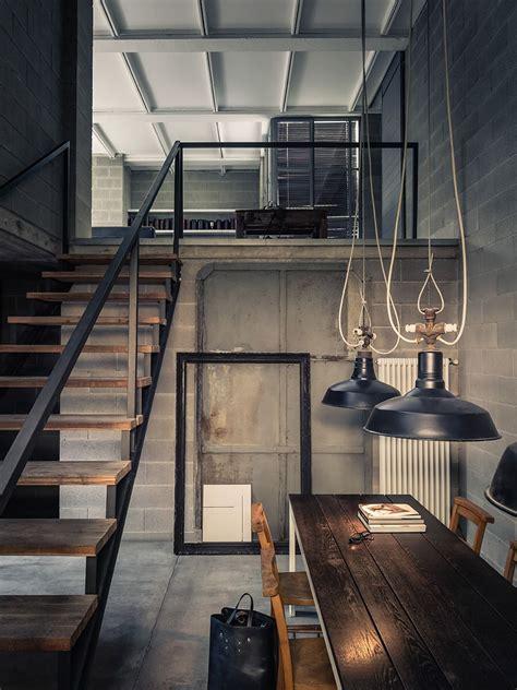 industrial home interior design concrete shadows house loft