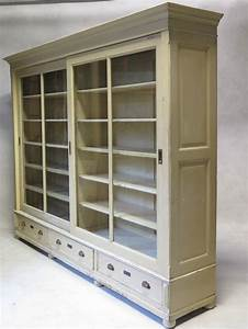 Elegant Bookcase with Sliding Glass Doors, France, Early ...