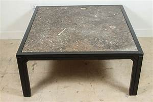 Fossil stone and ebonized wood coffee table by ronald for Wood and stone coffee table