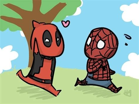 emeraldotter spiderman  deadpool doodle comic art