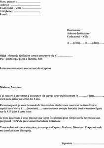 Résilier Une Assurance Vie : modele de courrier resiliation de contrat ~ Medecine-chirurgie-esthetiques.com Avis de Voitures