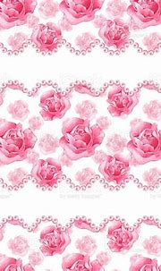 Watercolor Background With Pink Roses And Pearls Stock ...