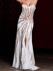 glamorous strapless floor length white sequined slit With white wedding party dress
