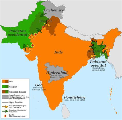 Carte Du Monde Inde by Inde Pakistan Partition De L Inde 1947 Carte